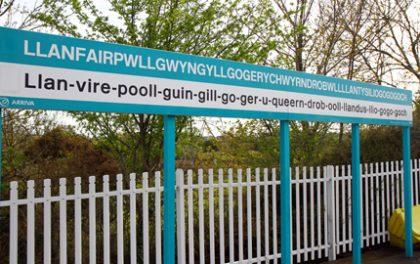 Bahnhofsschild in Llanfair Pwllgwyngyll - Copyright Karsten-Thilo Raab